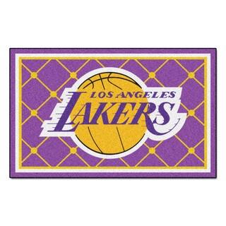 Fanmats Los Angeles Lakers Black Nylon Area Rug (5' x 8')