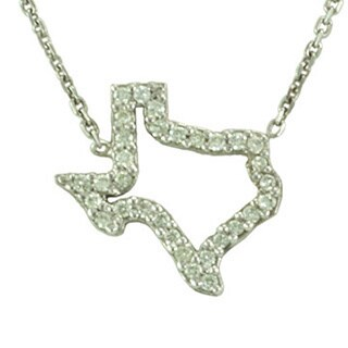 14k Gold 1/8ct TDW Outline Diamond State of Texas Open Necklace (G-H, SI1-SI2)