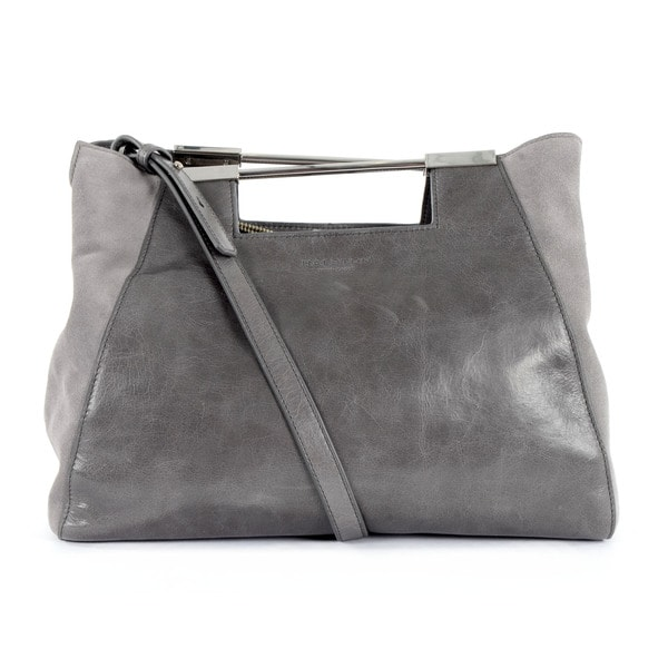 Halston Heritage Grey Glazed Leather/ Suede Large Satchel Lauren Handbag