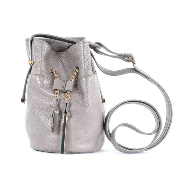 Halston Heritage Embossed Lizard Grey Mini Bucket Bag