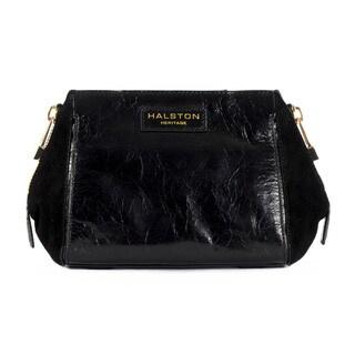 Halston Heritage Glazed Leather/ Suede Crossbody Liza Handbag