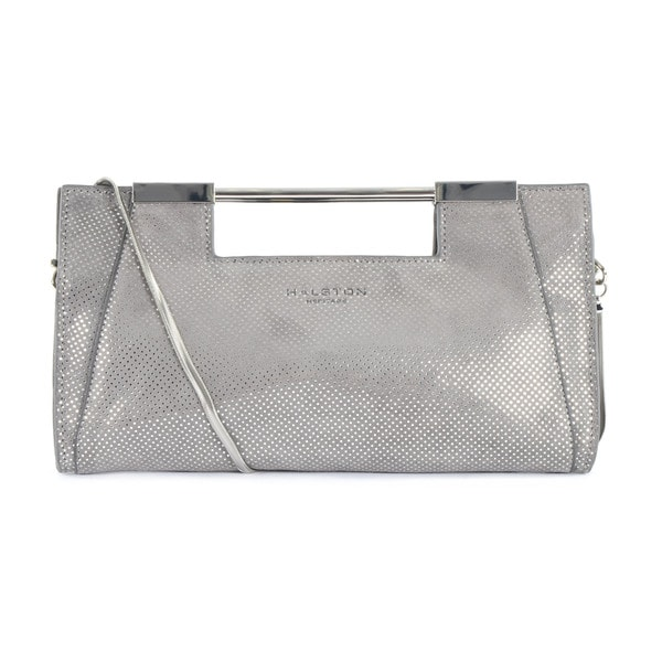 Halston Heritage Grey Metallic Dot Lauren Clutch