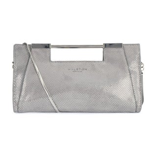 Halston Heritage Grey Metallic Dot Lauren Clutch