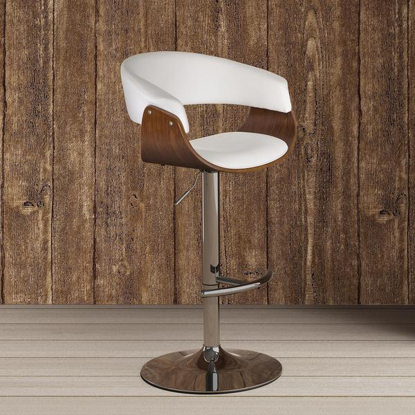 DHP White Faux Leather/Walnut Adelaide Swivel Barstool