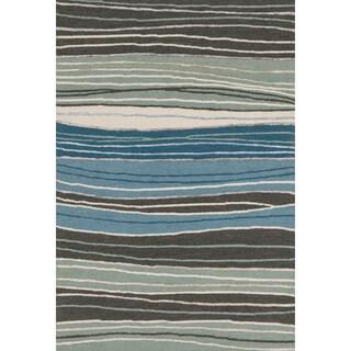 Hand-hooked Carolyn Grey/ Blue Stripe Rug (9'3 x 13')