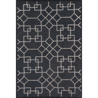 Hand-hooked Carolyn Charcoal/ Silver Rug (7'6 x 9'6)