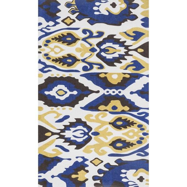 Printed Flatweave Marissa Blue Ikat Rug (3'0 x 5'0)
