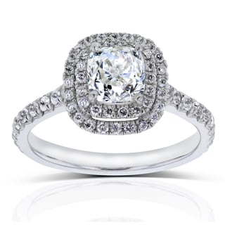 Annello 14k White Gold 1 5/8ct TDW Double Halo Cushion Diamond Engagement Ring (H-I, SI)