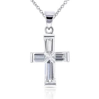 Annello 18k White Gold 1 7/8ct TDW Bullet Baguette Diamond Cross Pendant and 14k Chain (G-H, VS)