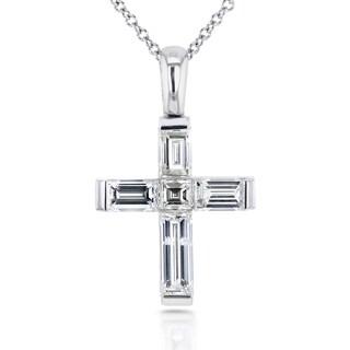 Annello 18k White Gold 1 1/4ct TDW Asscher and Baguette Diamond Cross Pendant and 14k Chain (F-G, VS-I1)