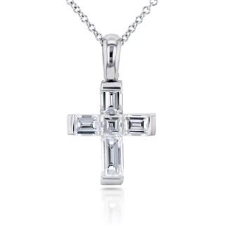 Annello 18k White Gold 1 1/10ct TDW Asscher and Baguette Diamond Cross Pendant and Chain (F-G, VS-SI)