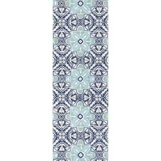 Printed Flatweave Marissa Blue/ Multi Rosette Rug (1'8 x 5'0)