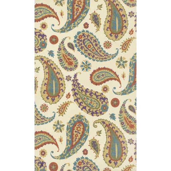 Printed Flatweave Marissa Paisley Ivory Rug (2'3 x 3'9)