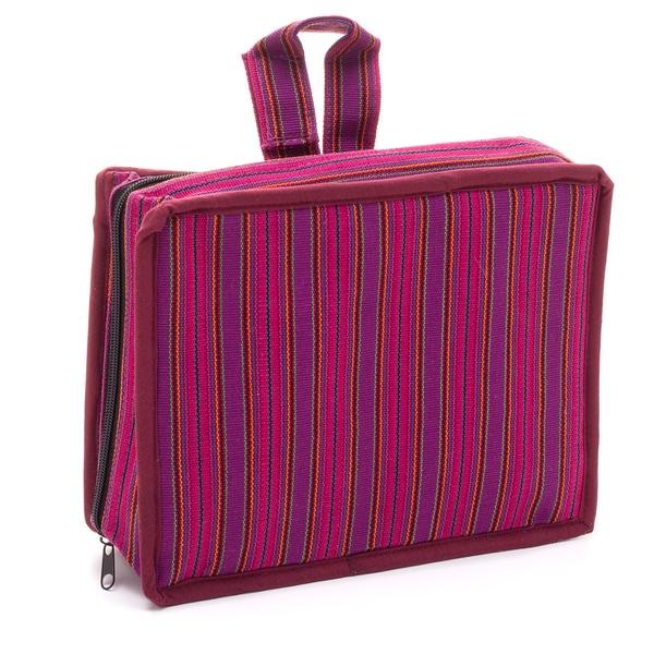Handmade Pink Stripe Cosmetic Travel Bag (Guatemala)