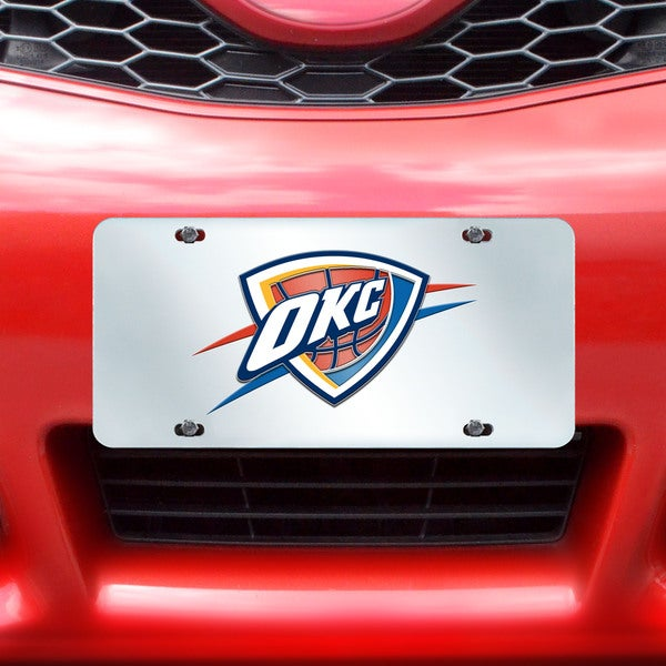 Fanmats Oklahoma City Thunder Silver Acrylic Inlaid License Plate