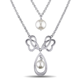 Miadora Sterling Silver Cultured Freshwater White Pearl Drop Necklace (7-9.5 mm)