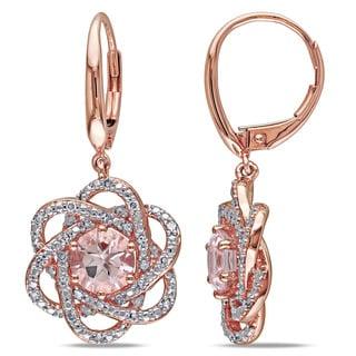 Miadora 10k Rose Gold Morganite and 1/4ct TDW Diamond Flower Dangle Earrings (G-H, I1-I2) (GCAL Certified)