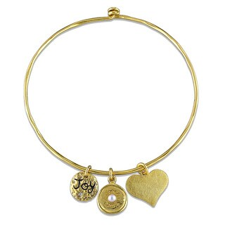 Miadora Yellow Plated Sterling Silver Cultured Freshwater White Pearl and Cubic Zirconia Charm Bangle Bracelet