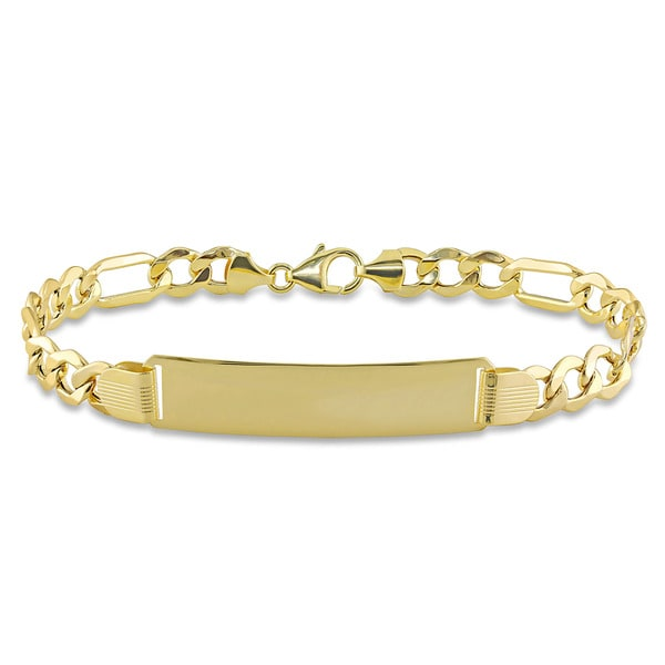 Miadora 10k Yellow Gold Mens ID Link Bracelet