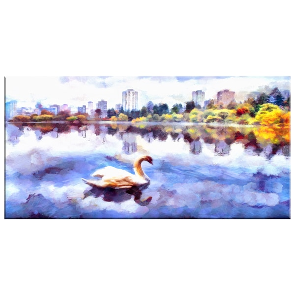 Design Art 'Swan Lake in the City' Canvas Art Print - 32x16 Inches