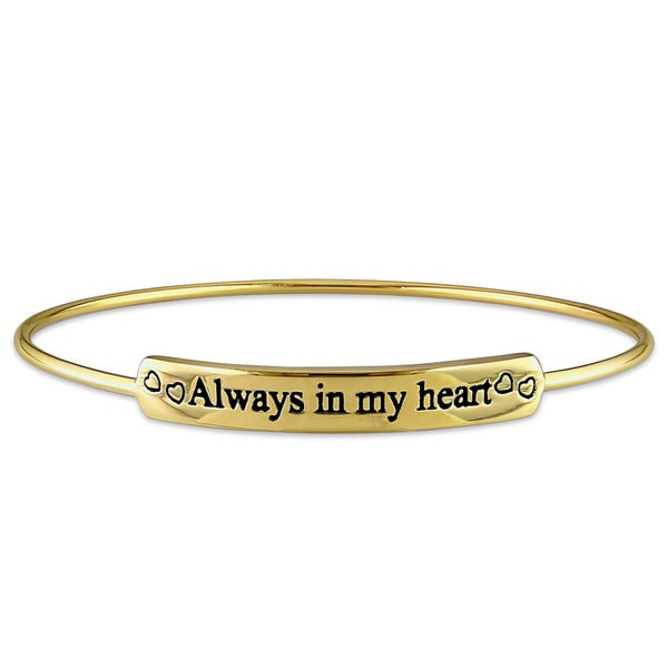 Miadora Yellow Plated Sterling Silver Always in my heart ID Bangle Bracelet