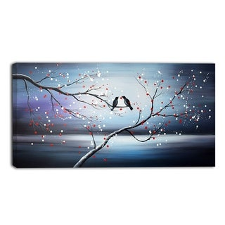 Design Art 'Together Forever Bird' Canvas Art Print - 32x16 Inches