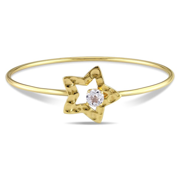Miadora Yellow Plated Sterling Silver White Topaz Star Bangle Bracelet