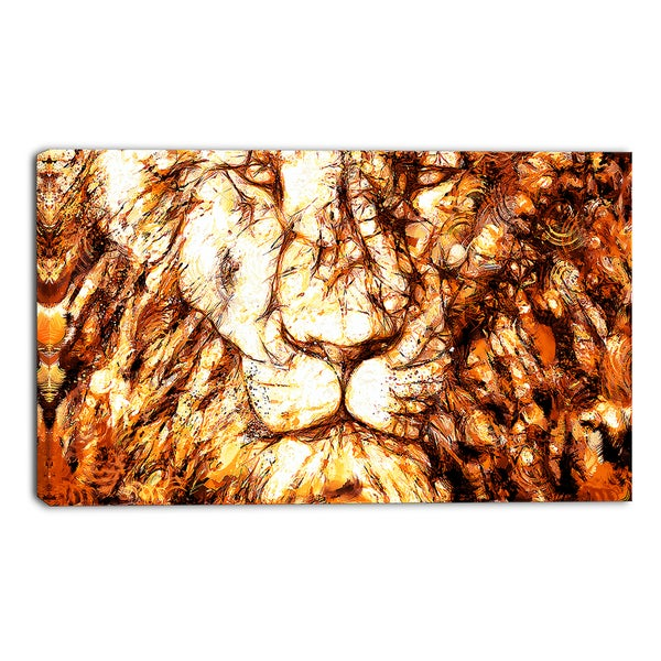 Design Art 'Wisdom in His Eyes' Lion Canvas Art Print - 32x16 Inches