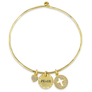 Miadora Yellow Plated Sterling Silver Cubic Zirconia Charm Bangle Bracelet