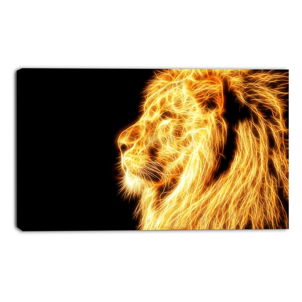 Design Art 'On the Watch' Yellow Lion Canvas Art Print - 32x16 Inches