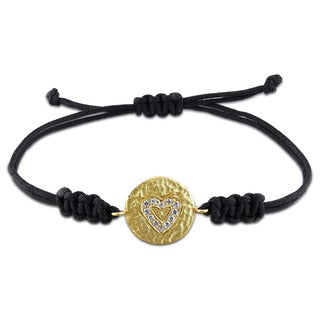 Miadora Yellow Plated Sterling Silver Cubic Zirconia Black Adjustable Cord Heart Bracelet
