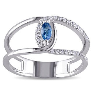 Miadora Sterling Silver Blue and White Topaz Double Band Ring