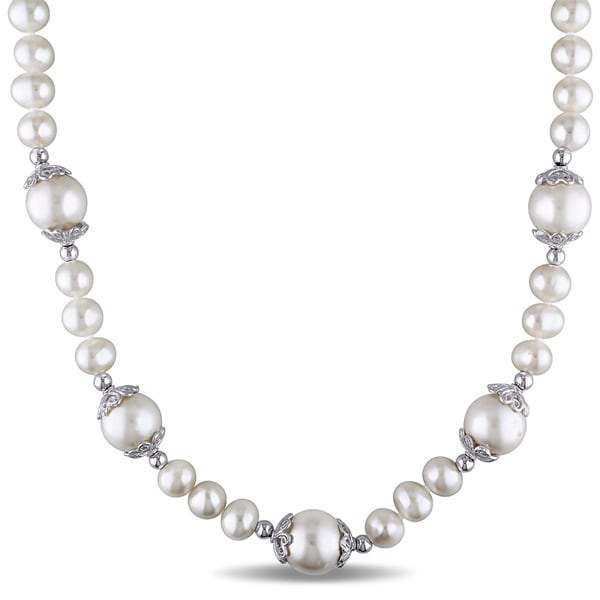 Miadora Sterling Silver Freshwater White Pearl Necklace
