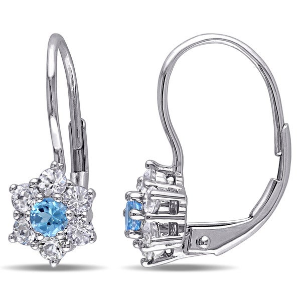 Miadora 10k White Gold Blue Topaz and White Sapphire Children's Dangle Earrings