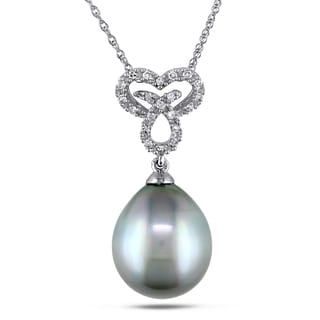 Miadora 10k White Gold Tahitian Platinum Pearl and 1/10ct TDW Diamond Heart Necklace (G-H, I2-I3) (9.5-10 mm)
