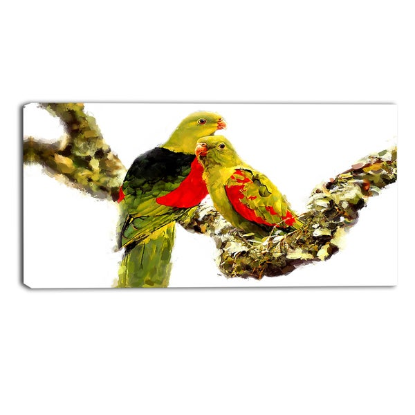 Design Art 'Budgies in Love' Canvas Art Print - 40x20 Inches