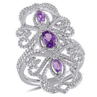 Miadora Sterling Silver Amethyst and 1/10ct TDW Diamond Vintage Long Finger Ring (G-H, I2-I3)