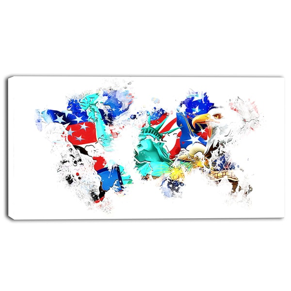 Design Art 'East to West Coast City On the Map' Canvas Art - 32x16 Inches