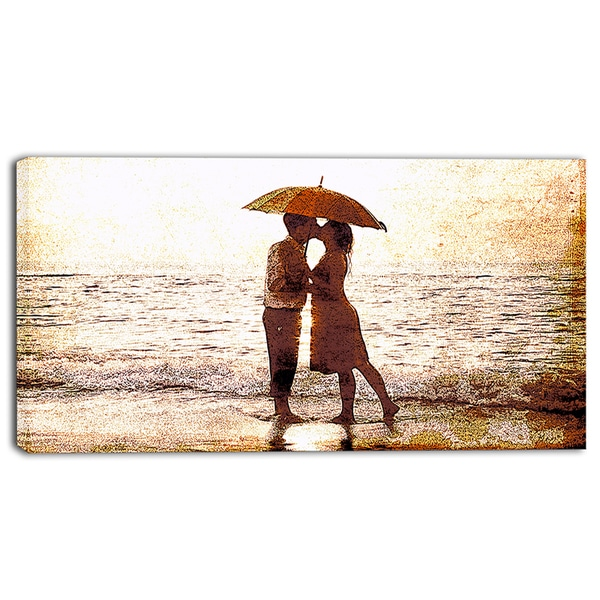 Design Art 'Baby Kiss By the Water' Sensual Canvas Art Print - 32x16