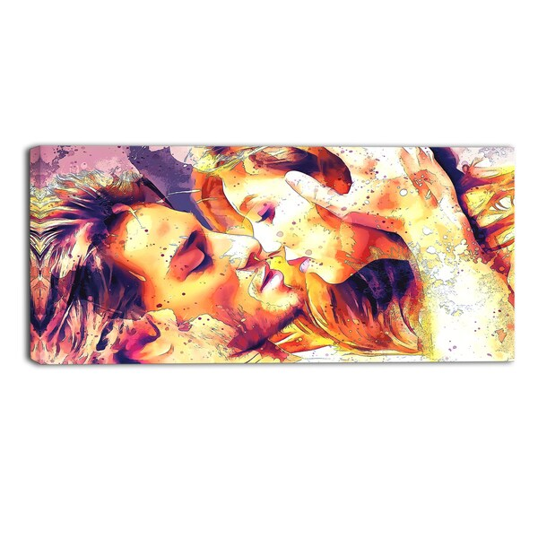 Design Art 'Hold me Now, Hold me Forever' Sensual Canvas Art Print - 32x16 Inches