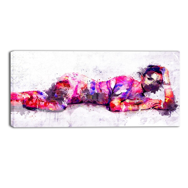 Design Art 'Pose for You' Sensual Canvas Art Print - 32x16 Inches
