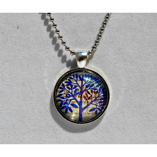 Atkinson Creations Blue Tree of Hope Glass Dome Pendant Necklace