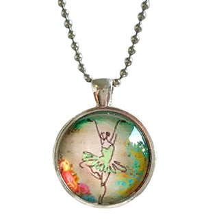 Atkinson Creations Multi Colorful Dancing Ballerina Glass Dome Necklace