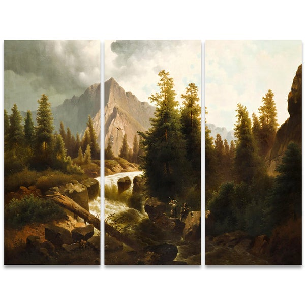 Design Art 'Hunting in the Storm' Canvas Art Print - 36x28 Inches - 3 Panels