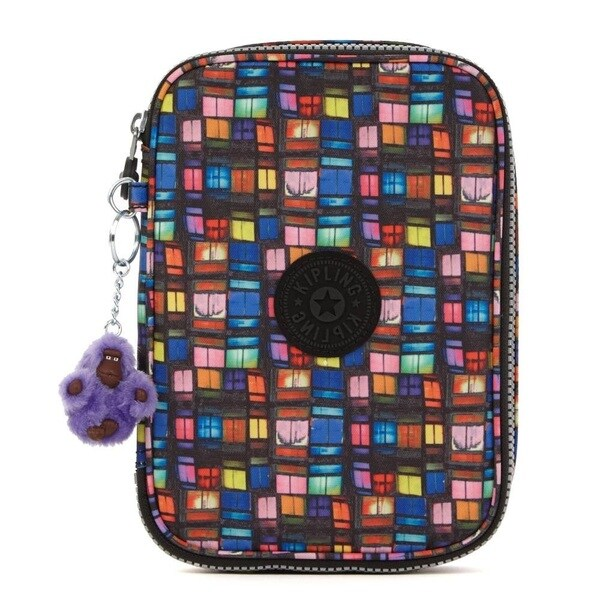 Kipling 100 Pens Printed Case - Black Whimsical Windows