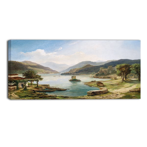 Design Art 'Tranquil Villas Around the Lake' Canvas Art Print - 32x16 Inches