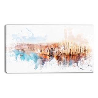 Design Art 'Sunrise on the River' Cityscape Canvas Art Print - 32x16 Inches