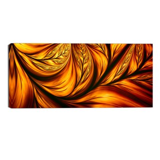 Design Art 'Golden Leaf' Abstract Canvas Art Print - 32x16 Inches