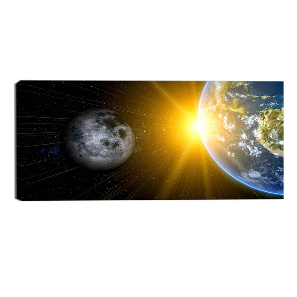 Design Art 'Sun Moon and Earth' Our Worlds Abstract Canvas Art Print - 32x16 Inches