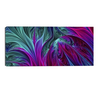 Design Art 'Purple and Green Jungle' Modern Canvas Art Print - 32x16 Inches